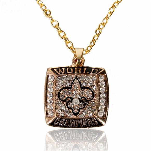 c654f957 New Orleans Saints Champs Gold Necklace Unisex